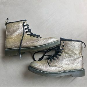 Dr. Marten Glitter Gold Lace Zip Up Delaney Boots